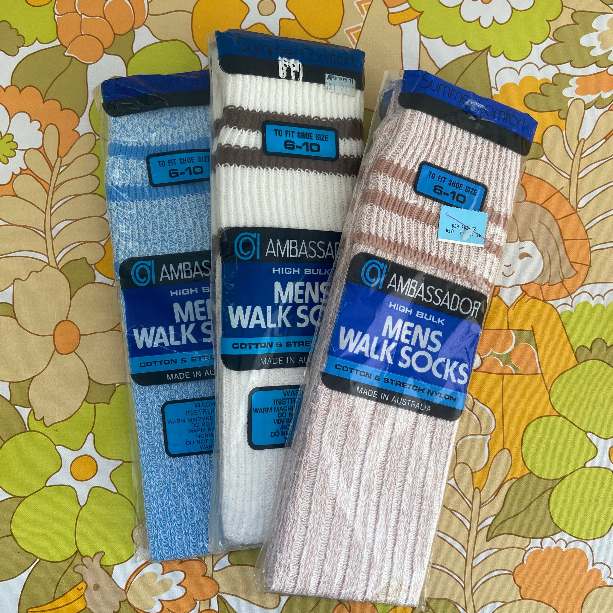 MENS 6-10 SOCKS Vintage Retro Party Knee HIGH