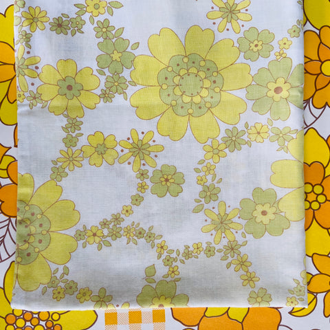 Yellow Cotton Pillow Case 70's BOLD Yellow Print