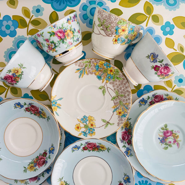 Cute Trio Lot Vintage Floral Afternoon Tea Collectable Cups