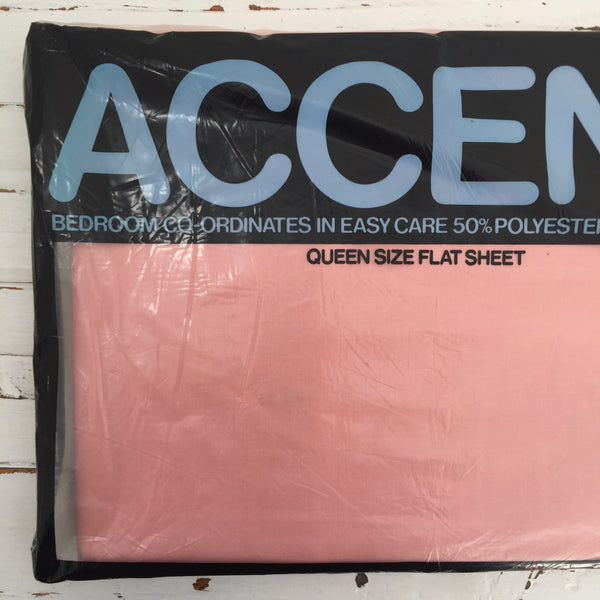 ACCENT Queen Size Flat Sheet Cotton Blend RETRO Home Bed