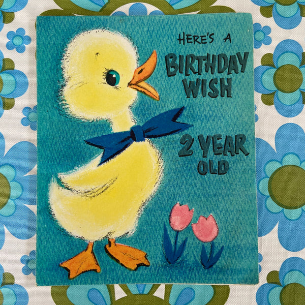 CHILDREN's VINTAGE Birthday Card PRINT Collectable 60's PRINT Craft