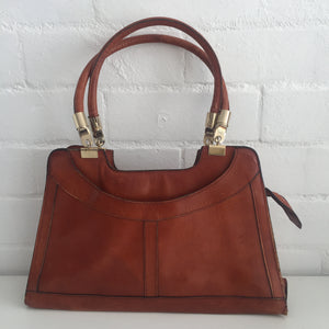 FAB VINTAGE 70'S BROWN GENUINE LEATHER BAG Rustic BOHO