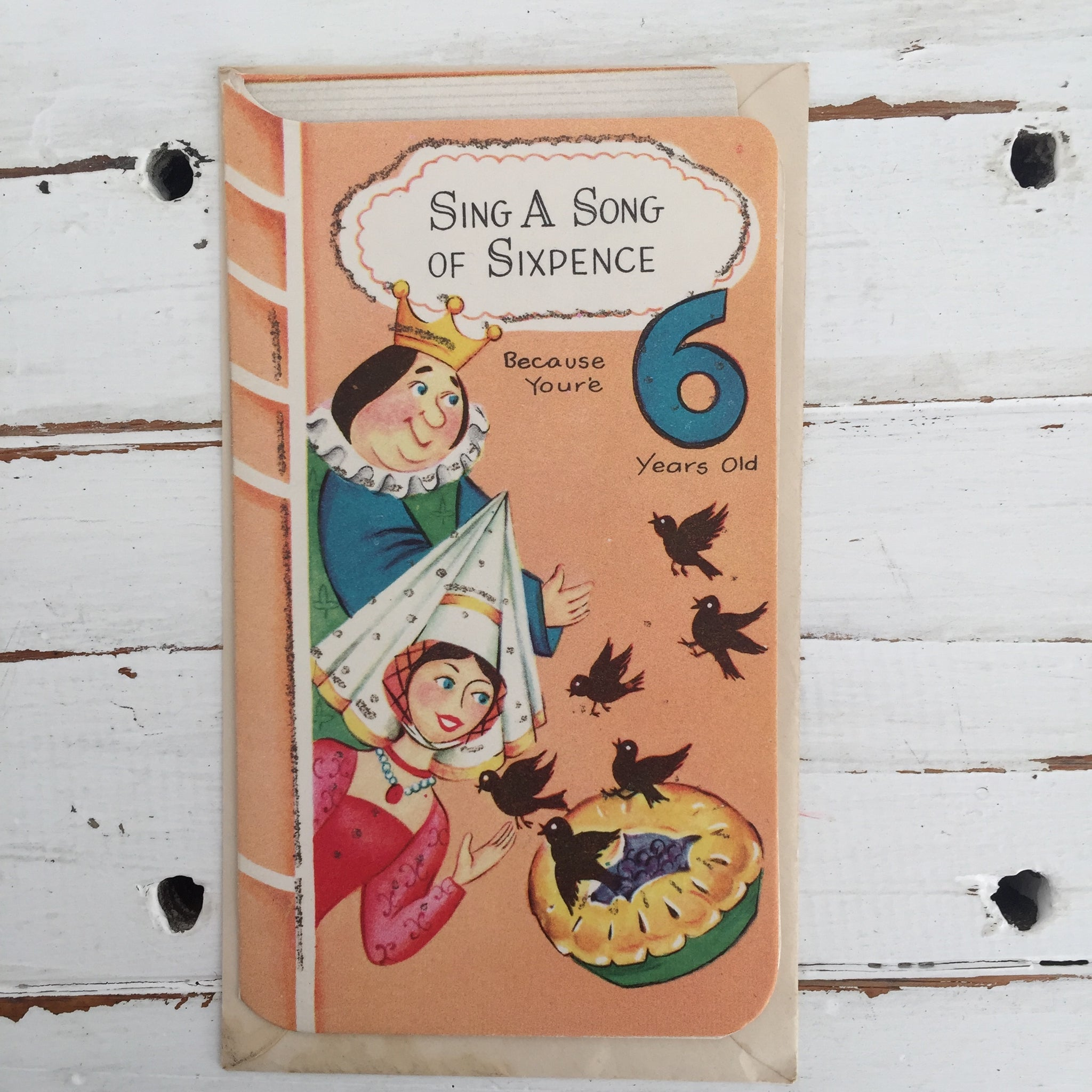 Vintage GREETING CARD Sing a Song Sixpence UNUSED 60's