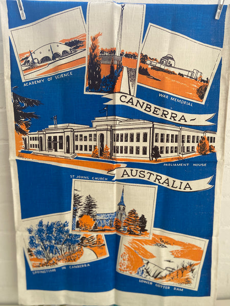 Canberra Vintage Souvenir TEA TOWEL Retro Kitchen UPCYCLE