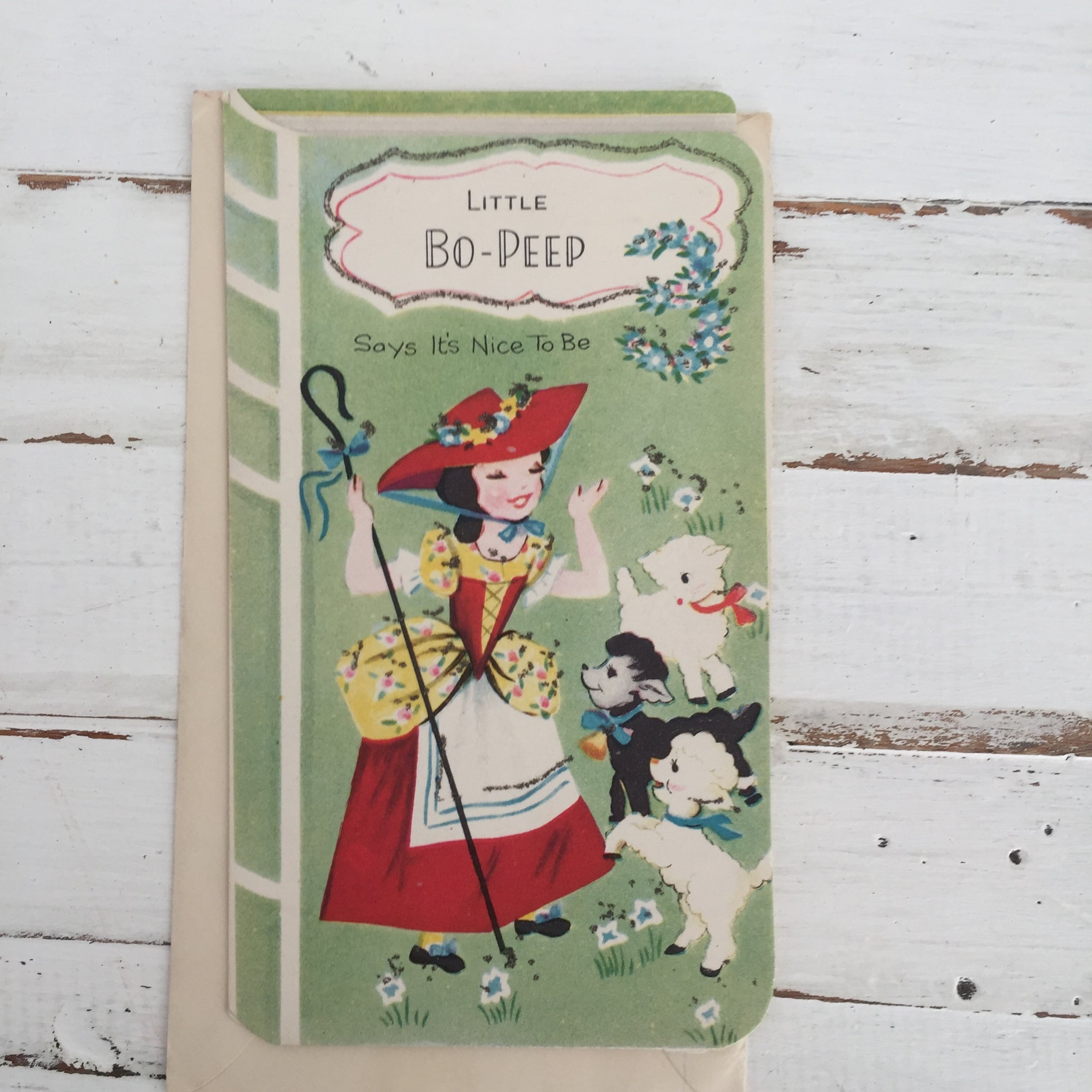 LITTLE Bo PEEP Vintage GREETING Card RETRO Craft UNUSED