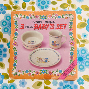 IVORY China 3 Piece Baby Cup Set BOXED Vintage 70's Home