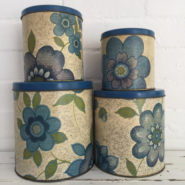 WILLOW Vintage RETRO Kitchen Canisters Set of FOUR