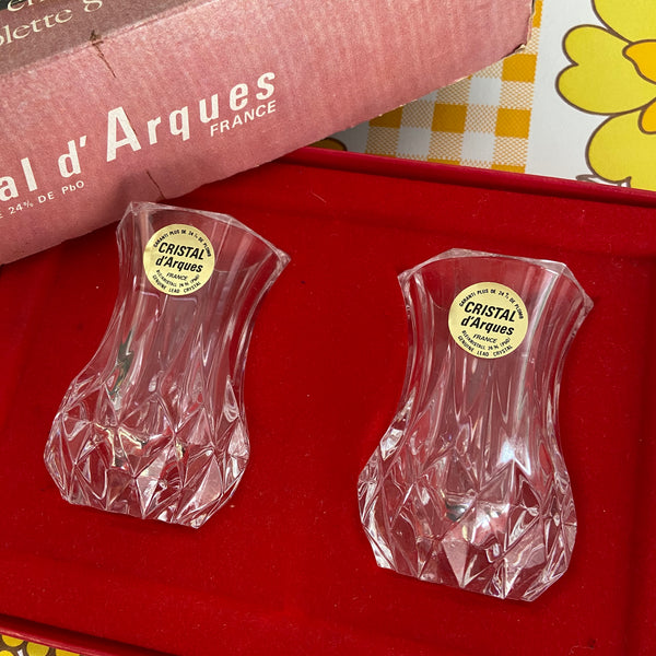 Cristal D'arques Pair of Vases Boxed Vintage Home