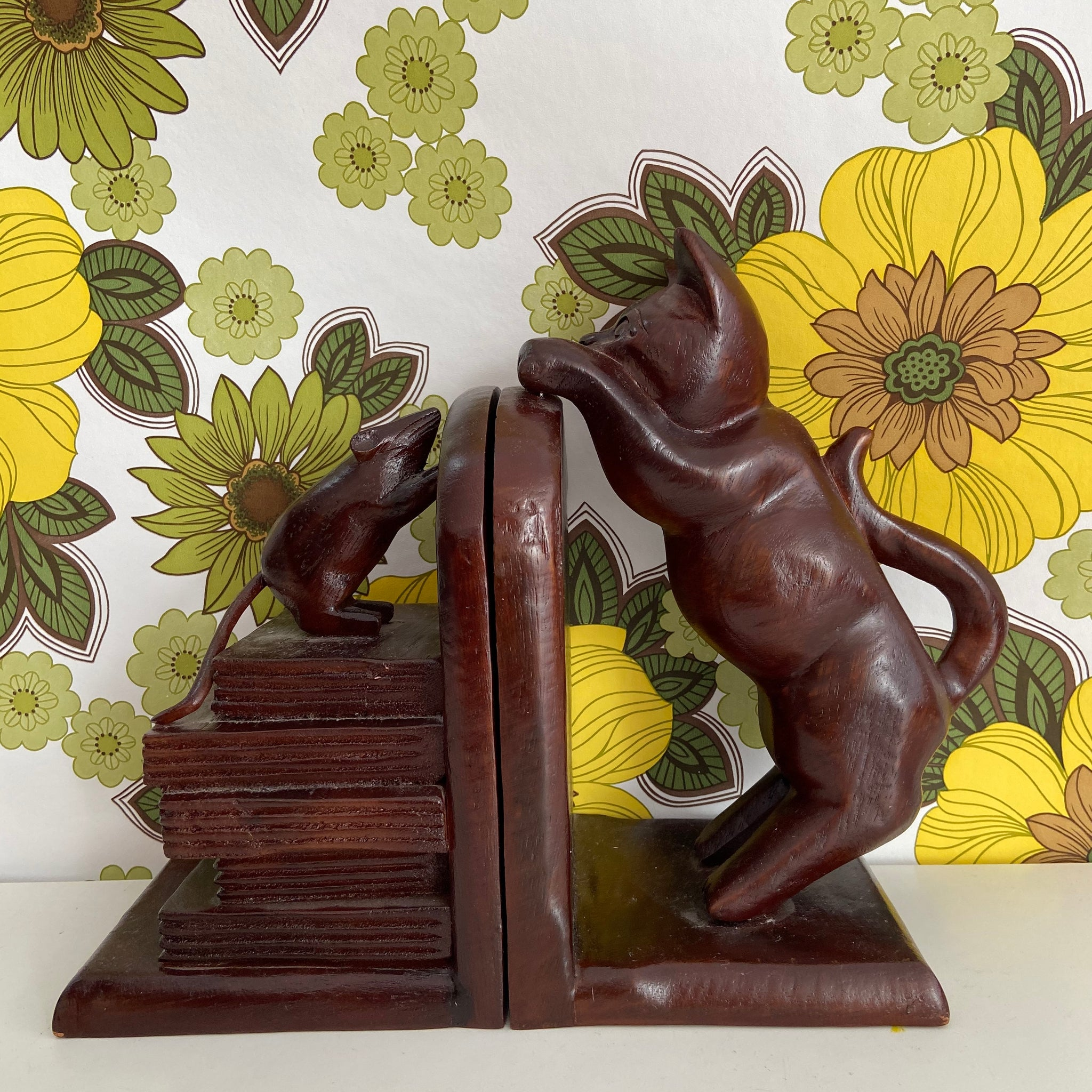 Adorable Timber Cat & Mouse Bookends Bookcase Lounge Room VINTAGE