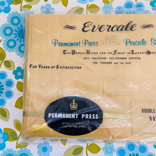 EVERCALE Sheet Double FLAT Permanent Press UNUSED VIntage