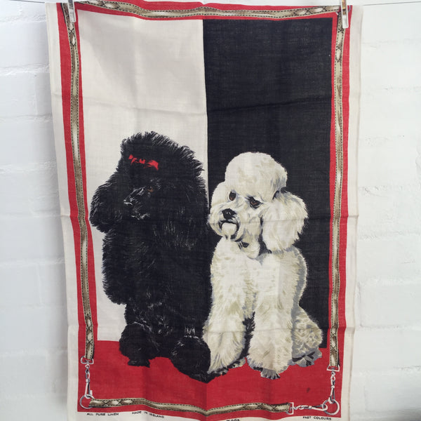 IRISH Pure Linen Tea Towel DOGS Vintage Retro Kitchen FABRIC