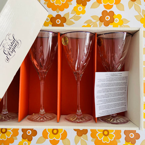 CASSANDRA Cristal D'Arques Wine Glasses Boxed UNUSED VINTAGE