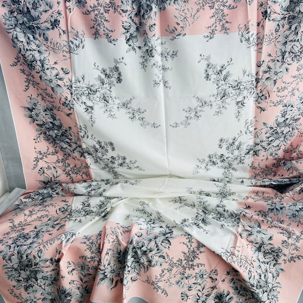 UNUSED Table Cloth Bright Cotton Vintage Floral & Grey