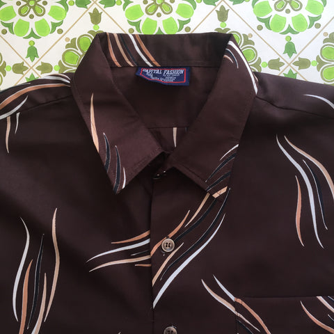 Vintage Polyester Mens 70's Shirt 105cms Chest RETRO Wardrobe