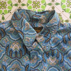 Cool VINTAGE STYLE MENS Shirt Renegade Cotton Paisley Print Retro