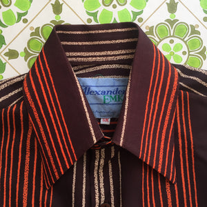 Mens Vintage Striped Shirt Casual 70's Top