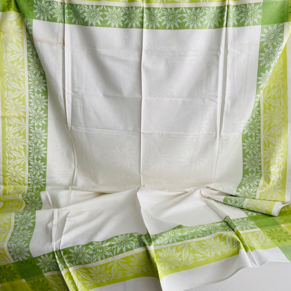 Large Green & Cream Damask Table Cloth Retro Vintage Home