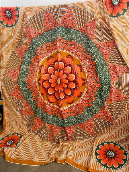 Large Bold Cotton Sheet / Table Cloth Fabric FLORAL 70's Large Flowers