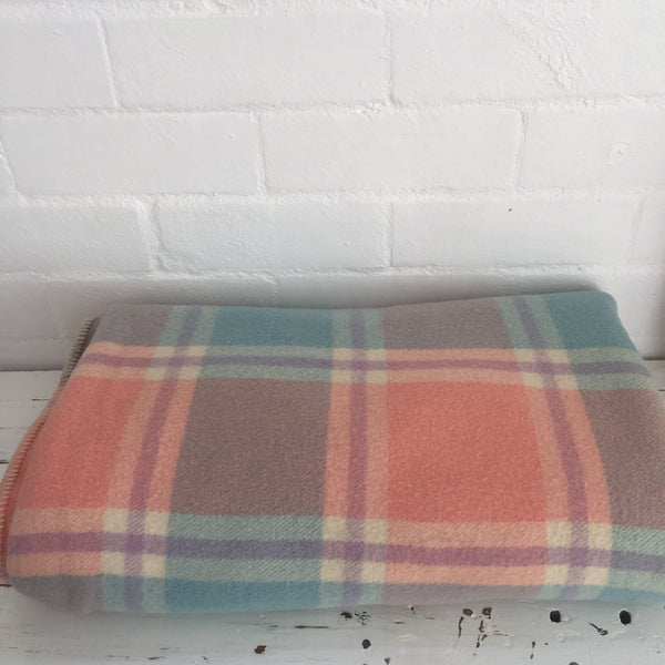 Vintage Checked Blanket RETRO Craft Pure WOOL