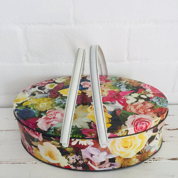 Vintage Tin FLORAL Collectable Lollies RETRO Kitchen