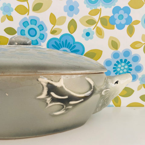 REINDEER Casserole DISH Rare Collectable Mid Century Serving Bowl