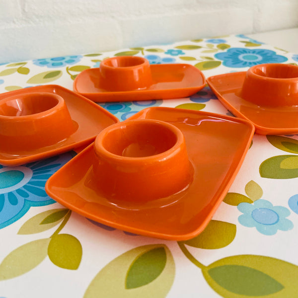 Stunning RETRO Orange Egg Cups Set of Four Camping Caravan