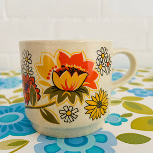Johnsons of AUSTRALIA Pretty Cup Orange Floral PRINT Retro