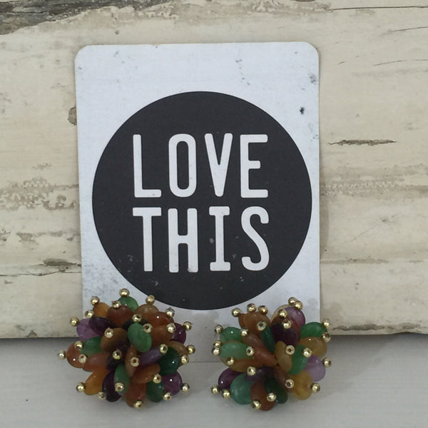 VINTAGE Earrings CLUSTERS Clip On GOLD Tips Multi COLOURED 60's Fab