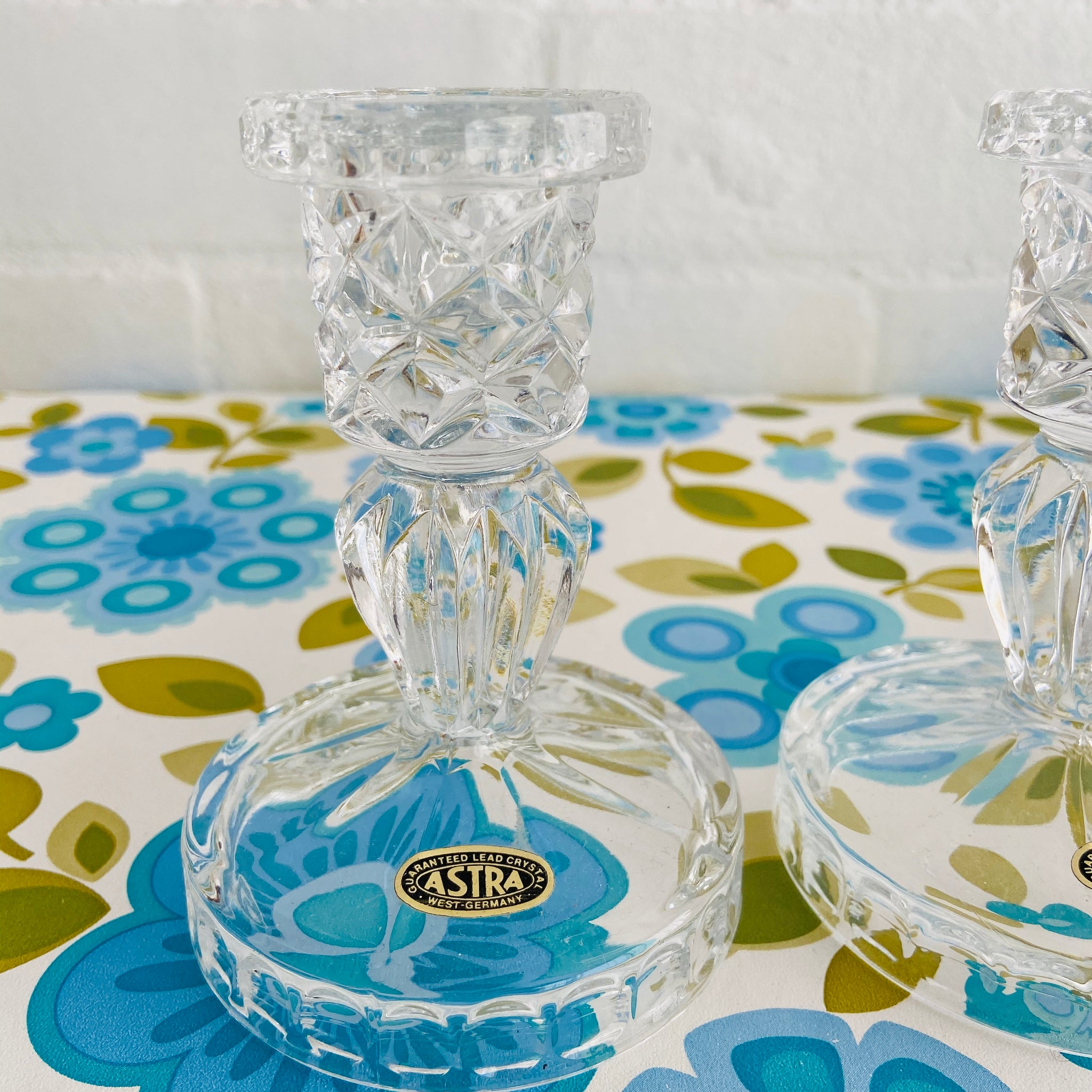 Pair ASTRA Lead Crystal Vintage Candle Sticks Stands LOVELY
