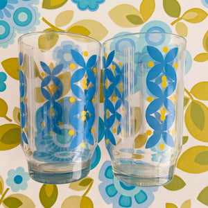 Cute Pair of Vintage Glasses Blue Caravan Camping 70's