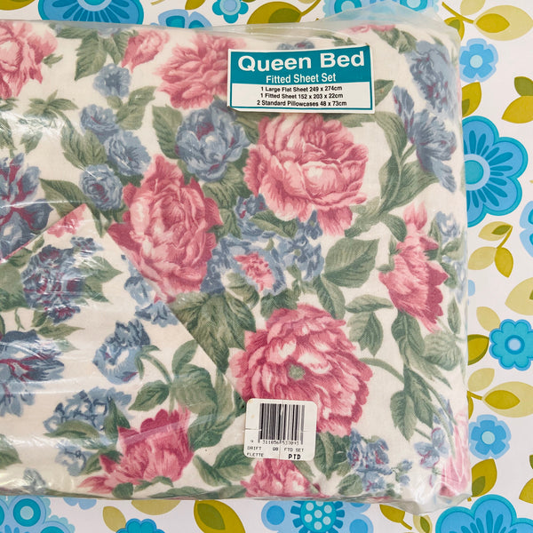 100% Cotton Flannelette Sheet Set Queen Flat Fitted & Pillow Cases