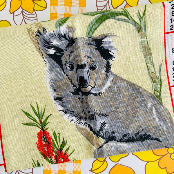 1995 Australia Koala Tea Towel Up Cycle Linen Cotton