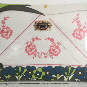 RETRO Boxed SET Vintage Cotton Sheet Pillow Cases Embroidered Pink