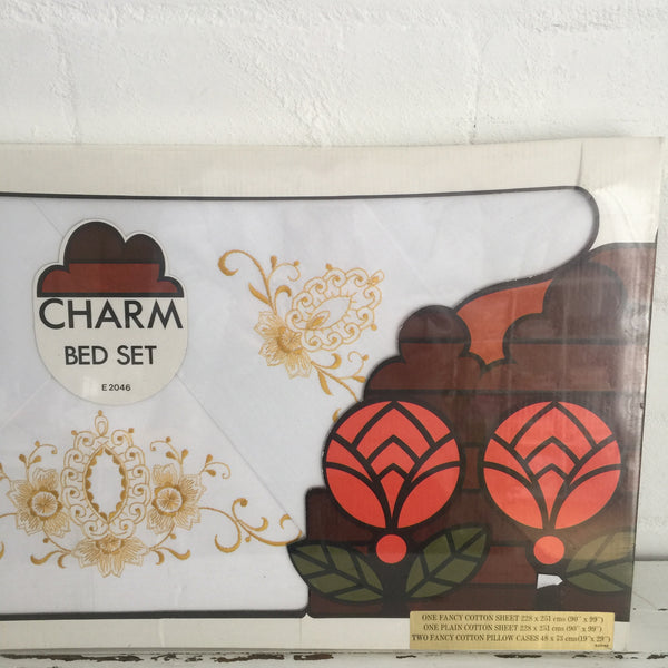 CHARM Vintage BOXED Sheet Set Pillow Cases EMBROIDERED