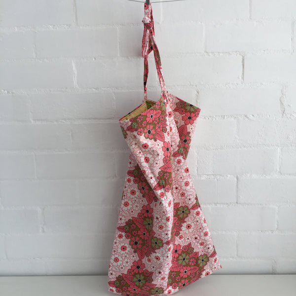 Vintage FABRIC Double Sided TOTE Handmade BAG Floral ADORABLE Shopping Market