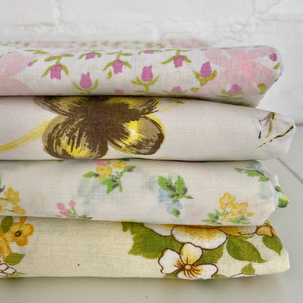 Cute Lot of Vintage Sheets FULL Cotton Floral Craft