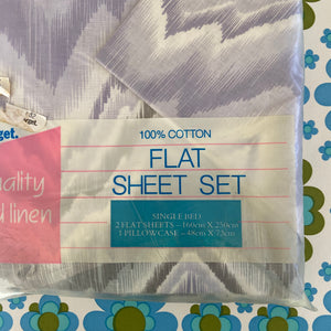 In PACKAGING 100% Cotton Sheet Set Purples Cotton 2 Flat plus Pillow case
