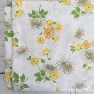 PAIR Vintage COTTON Sheet FABRIC Yellow Floral RETRO Craft Sewing