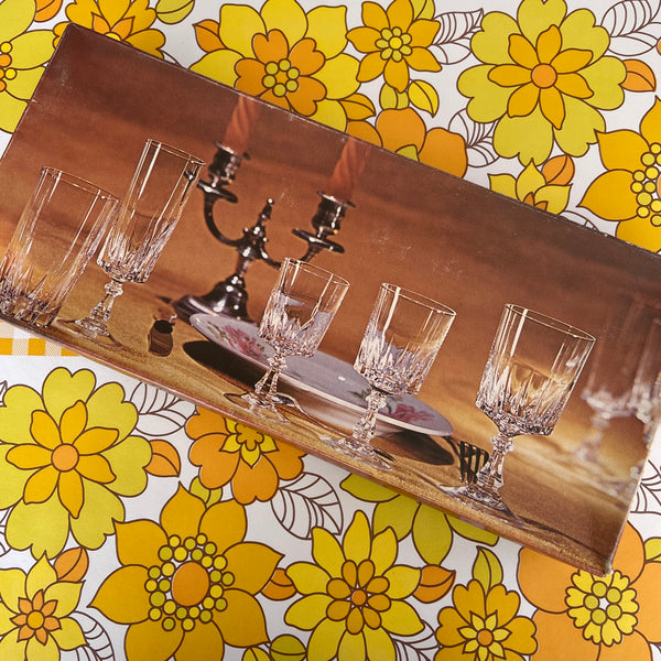 Cristal d'Arques France 6 Flutes BOXED Vintage Retro Glasses