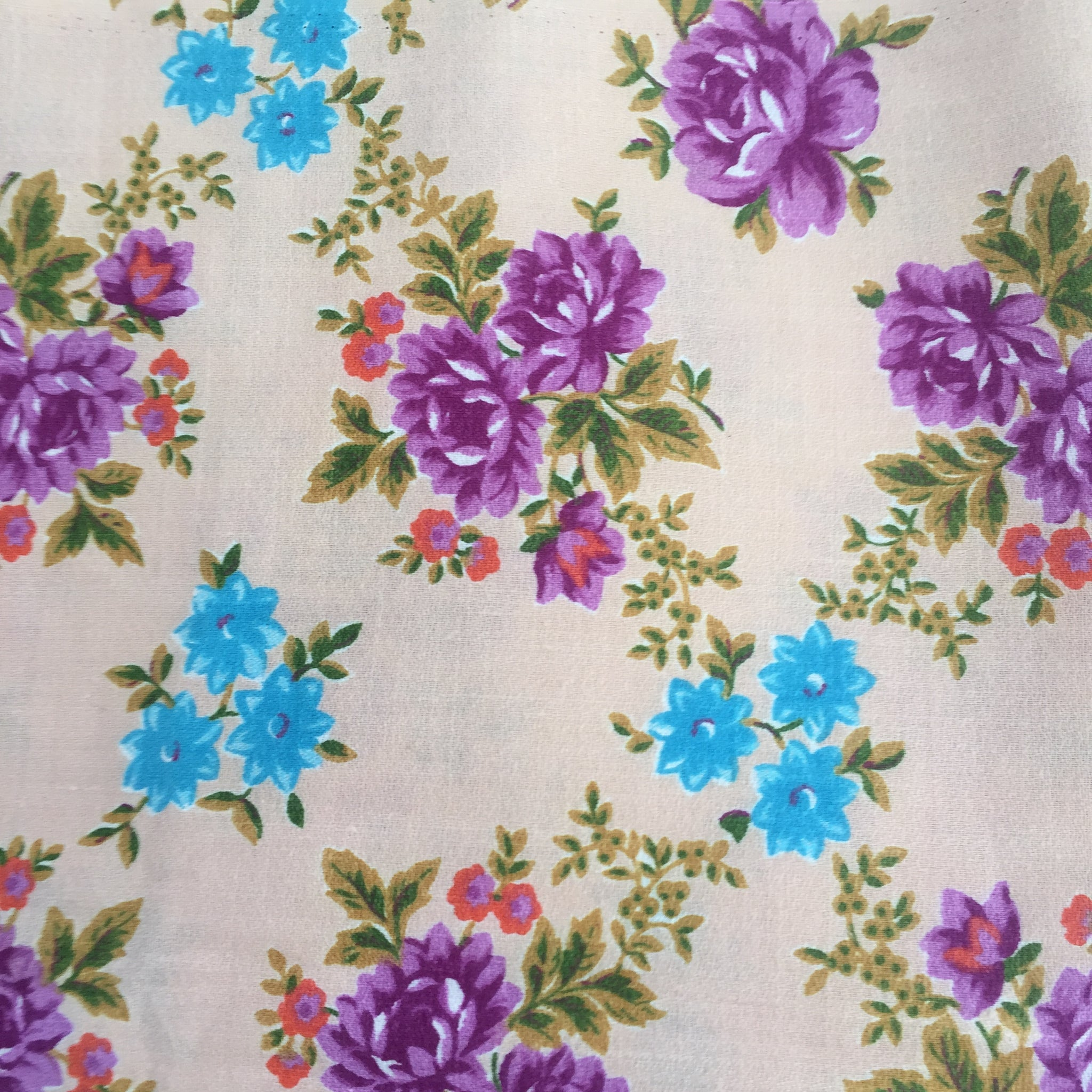 VINTAGE Floral Cotton FABRIC Stunning Colours 50's