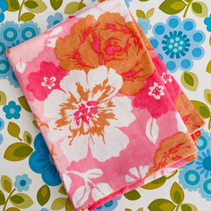 Cute CRISP unused Vintage Pillow CASE Bright Pink Floral LOVE