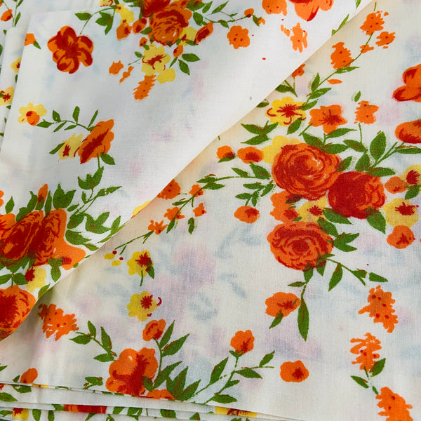 PAIR of Pretty Floral Pillow CASES Cotton Crisp & Clean Vintage