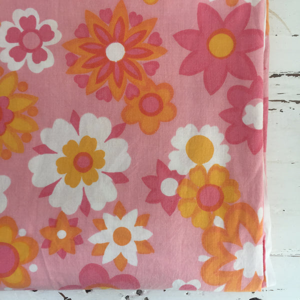 Beautiful Cotton Sheet Craft Sewing PINK Floral RETRO