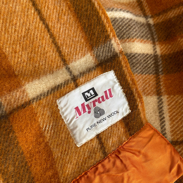 Myrall Vintage Brown Checked Plump Clean Vintage Blanket PURE WOOL
