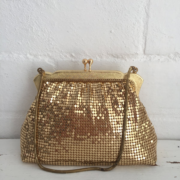 OROTON Handbag Gold Evening Cocktail DISCO Handbag Purse