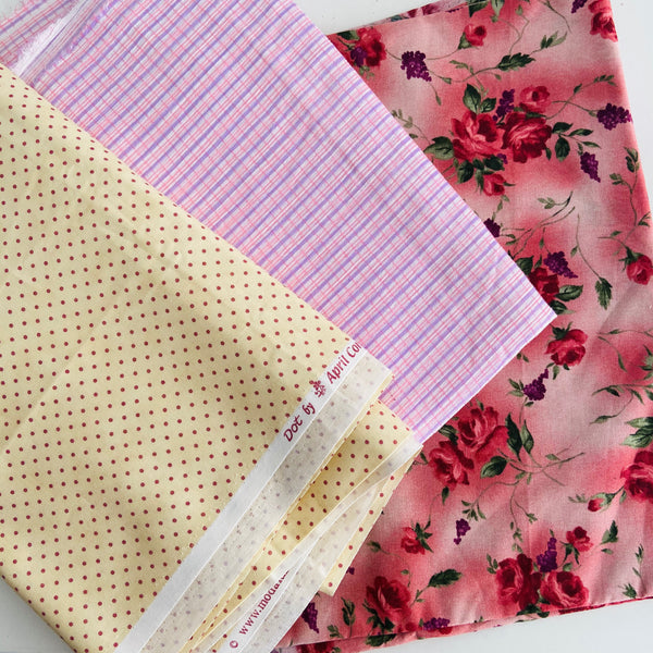 Random Group of Fabric x 3 Types Checked Floral Polka Dot