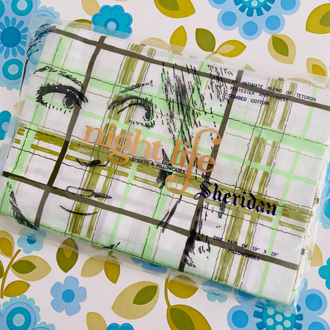 Sheridan Night Life Vintage Pair of Pillow Cases Green Checked
