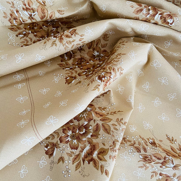 Vintage UNUSED Table Cloth Brown Floral 70's Home Decor