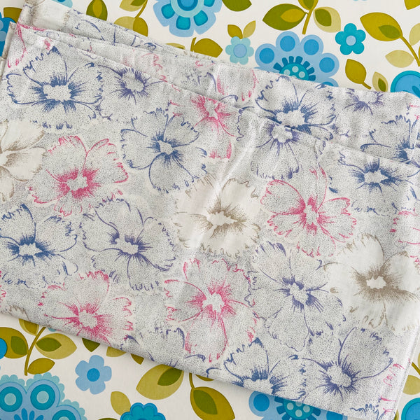 Cotton Pillow Cases PAIR Unused Vintage Floral Home