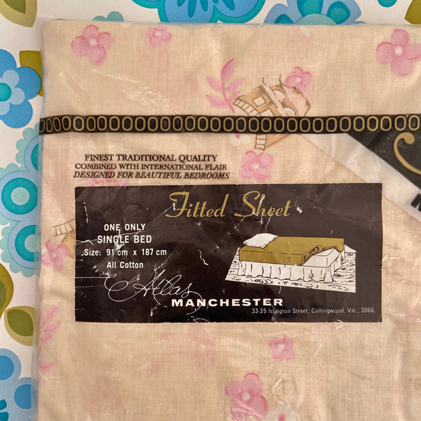 SINGLE Fitted SHEET Atlas Vintage Bedroom Floral Pretty